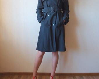 Vintage Coat Black Womens Trench Coat Black Trenchcoat Belted Knee Length  Outerwear Raincoat Double Breasted Medium Size