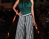 Women wide leg striped pants