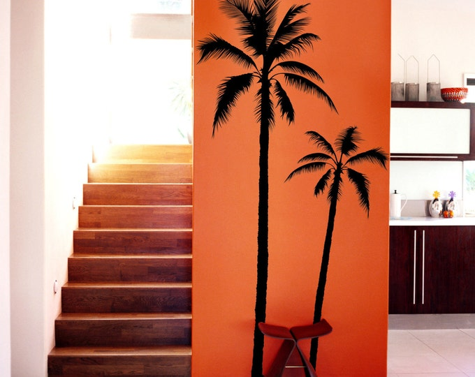 set of 2 Palm Tree Vinyl DECAL Wall art Wall stickers No background large size coconut tree beach oasis south leaf home decor livingroom