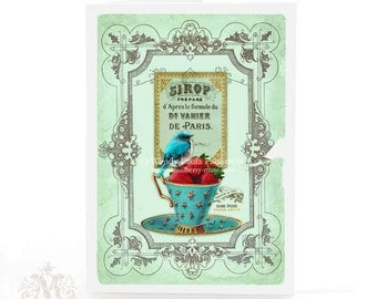 Bird on a teacup card, strawberries, French vintage label, birthday card, friendship card, blank all occasion card
