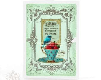 Bird on a teacup, card, vintage teacup, strawberries, French, vintage label, aqua, blue, bird card, birthday card, high tea card, blank card
