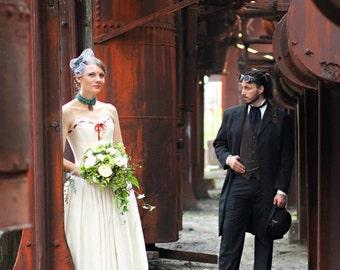 steampunk wedding dress- natural cotton