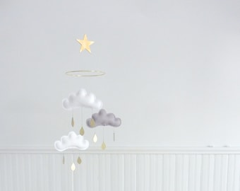 """Bestseller :Mobile """"MILAN"""" White,Grey,White cloud mobile for nursery with gold star by The Butter Flying-Rain Cloud Mobile Nursery Decor"""