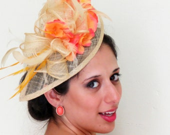 "Fascinator hat peach, coral  fascinator orange golden sinamay wedding fascinator on ""Orange"""