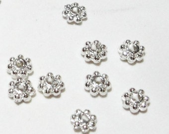 Silver Daisy Spacers - Silver Plated Flower Spacer Beads - Center Hole - 4mm - 7 Petals - 10g. 100 Pcs - Metal DIY Jewelry Findings