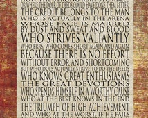 Man in the Arena - Word Art Print Rust with Tan - 11X14 Mounted Print Roosevelt - other formats available