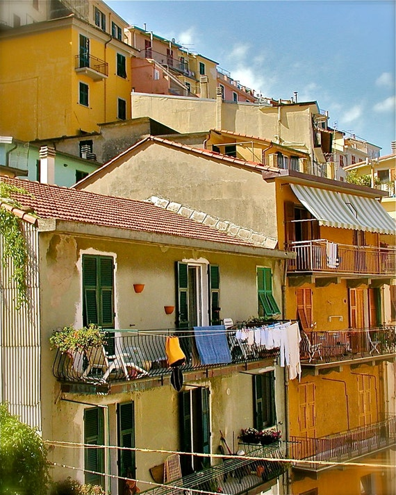 Cinque Terre Print - Italy Laundry Photography Colorful Italian Photograph Rustic Mediterranean Home Decor Orange Yellow Autumn Fall