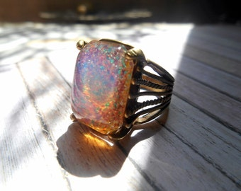 Opal Ring, Size 7.5, Vintage Glass opal Ring, Vintage Ring, Brass Opal Ring