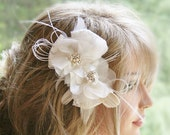 Ivory Headpiece, Bridal Hair Flower, Hair Accessories, Floral Lace Pearl Rhinestone Wedding Flower Hair Clip, Bridal Hair Piece
