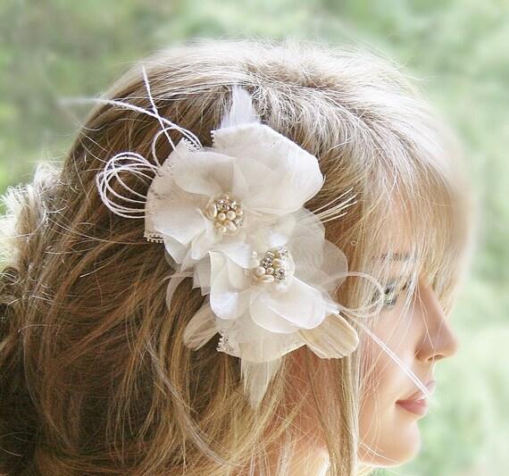 Ivory Flower Hair Clip Wedding: Ivory Headpiece Bridal Hair Flower Hair By FancieStrands