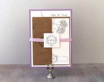 "Rustic Purple Wedding Invitations, Lavender, Plum, Lilac Wedding Invitations, Elegant Monogram Wedding Invitation - ""Shabby Chic"" Deposit"