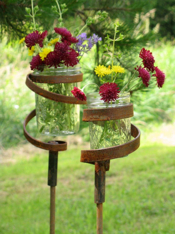 3 candle lantern vase garden stake metal 8 ounce