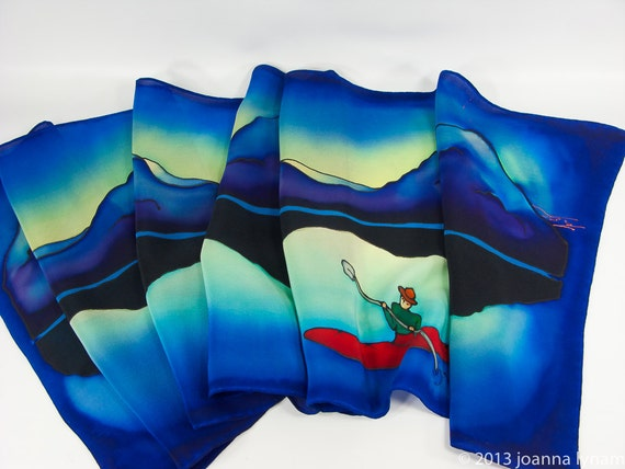 "Handpainted silk scarf. Kayak Silk Scarf. Kayak scarf- in a Bay Ringed by Mountains. 15""x58"" Handmade silk scarf. Handpainted silk scarf"