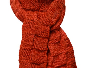 Hand Knit Scarf - Copper Red Java Windmill Wool
