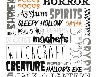 Halloween Subway Art. INSTANT DOWNLOAD. Spooky Words and Phrases. Halloween Wall Art. Halloween Printables. Fits an 8x10 frame.