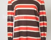 Mod Brown Top, Vintage 60s Top, Brown Orange top, Stripe top, Vintage Turtle neck - M/L