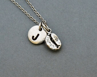 Tiny Coffee bean necklace, coffee bean charm, initial necklace, initial hand stamped, personalized, antique silver, monogram