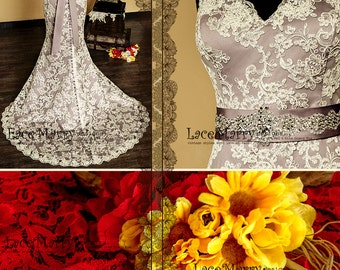 Lace baroque wedding dress