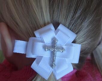 First Communion Hair Bow - First Communion Hair Clip - First Communion Hair Accessory - Glitter Cross Hair Bow - Small Cross White Hair Bow
