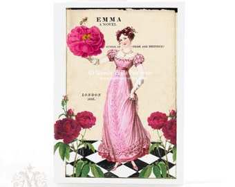 Jane Austen card, Emma, friendship card, birthday card, card for her, literary card, Pride and Prejudice, Regency card, British literature