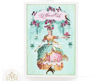 Marie Antoinette, card, let them eat cake, French, birthday card, high tea, shower tea, rose garden, mint green, macarons, pink roses