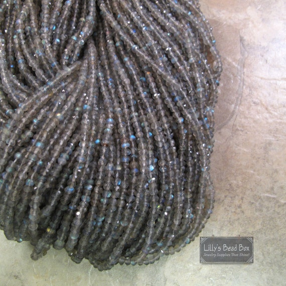 Labradorite Rondelle Beads, Faceted Rondelles, 3-3.5mm, 6.5 Inch Strand, Jewelry Supplies, Necklace Rondelles (R-Lab2)