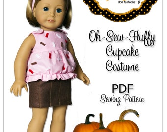 American Girl PDF Sewing Pattern - Doll Clothes Epattern - Cupcake Costume