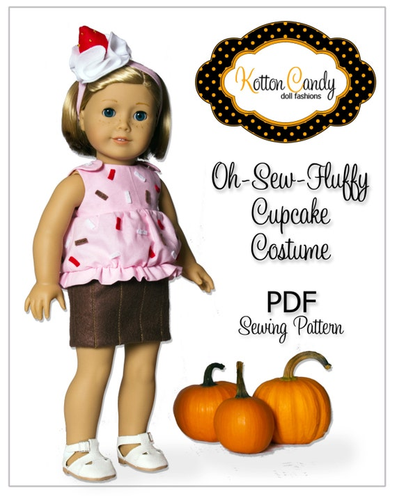 ... Girl PDF Sewing Pattern - Doll Clothes Epattern - Cupcake Costume