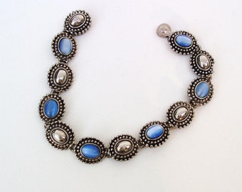 Vintage Blue Stone Bracelet / Southwest Jewelry / Silver Bracelet - 80s Jewelry