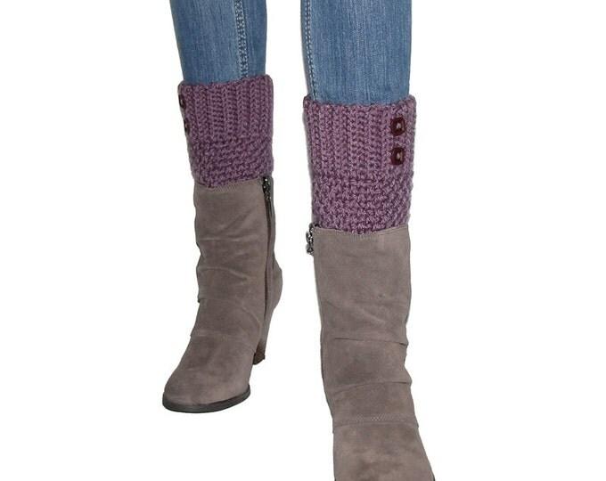 Crocheted Purple Boot Cuffs With Dark Amethyst Buttons, Plum Leg Warmers, Soft Acrylic Yarn, Handmade Crochet, Trendy Winter Gifts For Teens