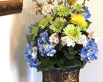 Blue floral arrangements, Blue flowers, Large artificial floral arrangements, Silk flower arrangement, Hydrangea centerpiece,