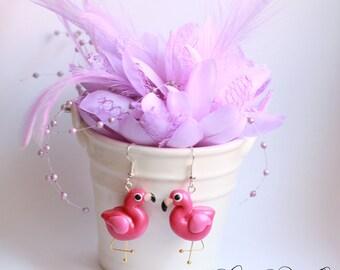 flamingo earrings - polymer clay - handmade