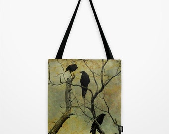 Two Sided Image Tote, Shopping Bag, Carry All, Crows Art Image, Surreal Birds, Ravens Tote, Birds Bag - I Know A Secret Tote