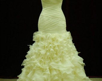 Stunning Criss Cross Organza Pleated Bridal Gown with Organza Ruffles Custom Made to Your Measurements