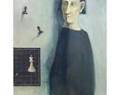 """art man portrait original painting people  figurative oil canvas 16""""x 20"""""""