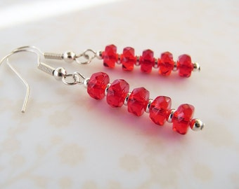 Red dangle earrings, Red glass jewellery, Red bead earrings, Gift for sister, Gift for wife, UK shop, E0004-1
