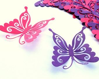 Purple Butterfly wall art - Butterfly Wall decor - 3d butterflies - Paper Butterflies - Butterfly Favors - Wedding Favors - Wall stickers