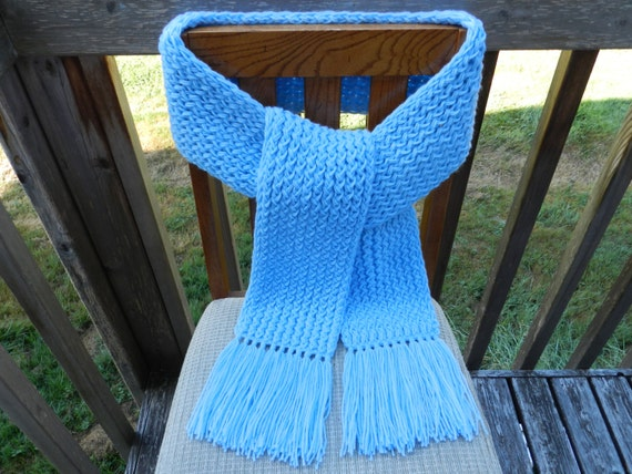 Knitting Loom Scarf Fringe : Light Blue Knit Scarf Loom Knitted Scarf by yarnworksandmore