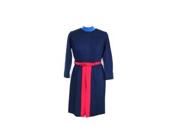 60s wool dress // 60s mod mini dress  // empire waist dress // mod scooter dress // navy dress // women winter dress