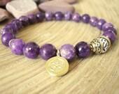 Om Bracelet - Lepidolite Yoga Bracelet with Gold Charm, Purple Stone with Conch Shell Mala Bead