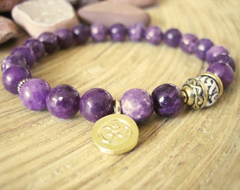Om Bracelet - Lepidolite Yoga Bracelet with Gold Charm, Purple Stone with Conch Shell Mala Bead