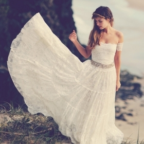Breathtaking boho wedding dress, gorgeous ivory lace strapless with gypsy arm bands