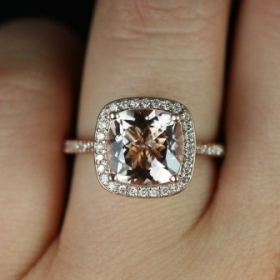 NEW Hollie  2013 Collection 14kt Rose Gold Cushion Morganite Halo Engagement Ring (Other metals and stone options available)