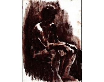 Sitting in Shade, original oil painting of male model