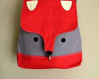 FOX Bag - Fox Backpack - Diaper Backpack - Laptop Backpack - Unisex Diaper Bag - Fabric Backpack - Vegan Backpack - RED GRAY Fox Backpack
