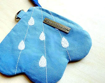 Fabric Zipper Pouch, Keyring Purse, Keyring Wallet, Keychain Pouch, Money Pouch, Card Pouch, Cloud And Rain, Raindrops - Sky Blue Color