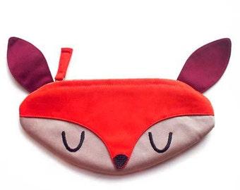 Pencil Case, DEER Purse, Pencil Pouch, Fabric Zip Pouch, zip purse, Deer gifts, Deer bag, pen pouch, Stationery pouch, ORANGE color pouch