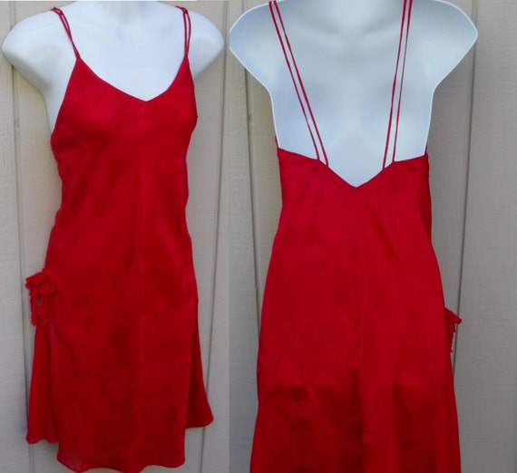Red Silk Slinky Chemise Nightgown Vintage Victoria By