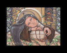 Saint Therese of Lisieux Praying At Window With Bird Signed Art Print -You Choose-2.5x3.5, 5x7 or 8x10 In.,Little Flower Icon Rosary Nun