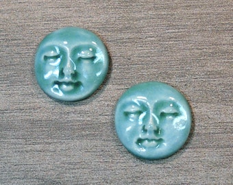 Pair of Two Medium Round Ceramic Face Stone Cabochons in Seafoam